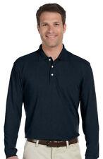 Harriton Men's Easy Blend Three Button Placket Long Sleeve Polo Shirt. M265L