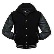 Hooded Wool Varsity Jacket Black Dark Grey Letterman Real Leather Sleeves Hoodie