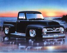 1955 Ford F100 Pickup Hot Rod Truck Art Print w/ Color Options