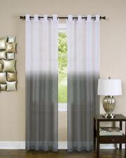 Window Panel Curtain Charcoal Two-Tone Modern Semi-Sheer Light Filter w/Grommet