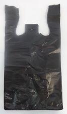 """Black Plastic T-Shirt Bags 1/10 Retail Shopping Bag Handles 8"""" x 3.5"""" x 15"""""""