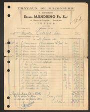 """TOULON (83) TRAVAUX de MACONNERIE """"Ets. Silvain MANDRINO Fils"""" en 1950"""