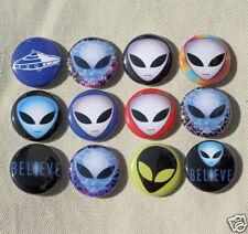 "12 ALIENS Buttons Pinbacks Badges 1"" Set Alien UFO Sci-Fi"