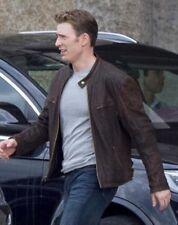 Capitán América Guerra Civil Steve Rogers Marrón Chaqueta De Cuero del zurriago envejecido