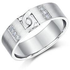 ANILLO PLATA DE LEY 925 Diamante Juego d Diseño Eslabones ALIANZA 4mm 6mm