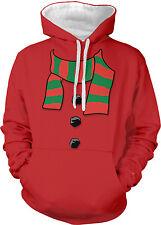 Scarf Coal Buttons Snowman Christmas Costume Xmas Hat Two Tone Hoodie Sweatshirt