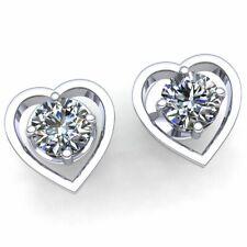 Natural 1ctw Round Cut Diamond Ladies Halo Heart Stud Earrings 14K Gold
