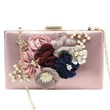 Classic Women Pearls Beaded Wedding Party Prom Bride Handbag Clutch Evening Bag