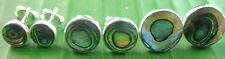 "925 sterling silver ""PAUA SHELL abalone FLAT"" 6mm/8mm/10mm studs earrings UNISEX"