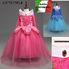 Aurora Vestito Bambina Carnevale Maschera Princess Girl Costume Dress AUR004B