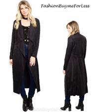 Hippie Black Steampunk Gothic Faux Suede Haute Drape Long Duster Cardigan Jacket