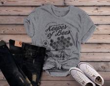 Shirts By Sarah Women's Keeper of Bees T-Shirt Beekeeper Gift Idea Tee Shirt