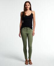 New Womens Superdry Sophia High Waist Super Skinny Jeans Khaki