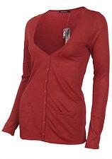 Ladies Red Cognac Lightweight VNeck Button Down Pocket Cardigan Tshirt Size 6-14