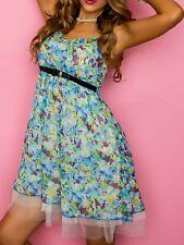 Sexy Miss Damen Flower Tüll Tunika Strass Long Top Mini Kleid S 34 M 36 L 38 NEU