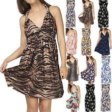 Womens Ladies Midi Dress V Neck Floral Print Spring Coil Greek Jersey Short 8-22