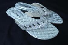Women's Rhinestone Silver Color Plain Mid-Heel Flip Flops Sandals Thongs Shoes