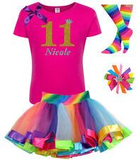 Bubblegum Divas Girls 11th Birthday Party Shirt Rainbow Tutu Outfit Custom Name