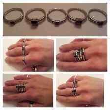 Unique Trending 5 Stack Dark Grey Rhinestone Silver Plate Knuckle Ring