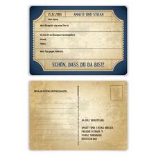 Hochzeitsspiel Fragerunde Postkarte Fragen Antworten - Vintage Brautpaar in Blau