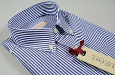 Camicia Pancaldi a righe Azzurro collo Button Down con taschino Regular Fit