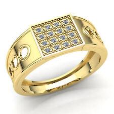 Fashion Cluster Engagement Ring 18K Gold Genuine 0.75ct Round Cut Diamond Mens