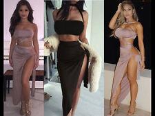 Damen 2 Stück Set Abend Partykleid Bodycon Multi Tie Bauchfreies Top Aufreizend