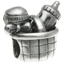 Sterling silver Mom's Kid Bottle Basket set Bead for European Charm Bracelets