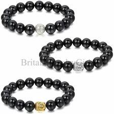 10mm Tibetan Buddha Lucky Man Bracelet Fashion Black Imitation Agate Stone Beads