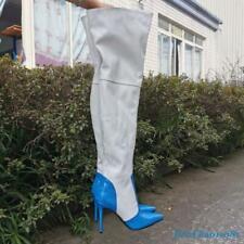 Stitching Women's Thigh High Boot Stilettos Shoes Nightclub Pointed Toe Fashion