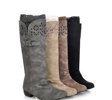 Ladies Winter Biker Style Lace Low Heel Wide Calf High Leg Knee Boots Plus Size