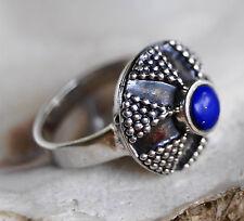 Ring Silber Lapis Lazuli Blau Silberring 52 55 60 Verspielt Kuppel Muster Kugeln