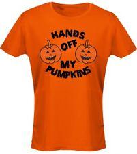 Hands Off Pumpkins Costume Fancy Dress Halloween Womens T-Shirt 8 Colours (8-20)