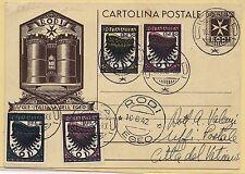"""16.06.1942 Cartolina postale con serie posta aerea """"Ala Stilizzata"""""""