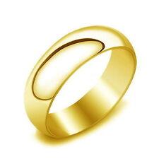 BAGUE ANNEAU ALLIANCE MARIAGE HOMME FEMME ADO ACIER 316L NEUVE PLAQUE OR 6mm