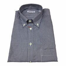 BRANCACCIO camisa de hombre botton down cuadrados blanco/azul 100 % algodón