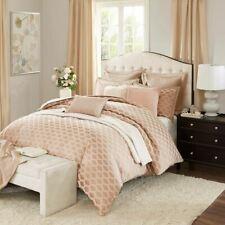 Pink Rose Quartz & Taupe Jacquard Geometric Comforter Set AND Decorative Pillows