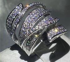 18k White Gold Large Ring made w Swarovski Crystal Stone Index Ring Bridal Jewel