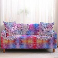 Rainbow Bohemian Mandala Print Sofa Couch Cover Slipcover
