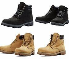 Mens JACK & JONES Leather Boots New Black Honey Lace Ups Nubuck Sale Size 7-12