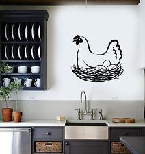 Vinyl Wall Decal Hen Chicken Eggs Nest Farm Animal Bird Stickers (3708ig)