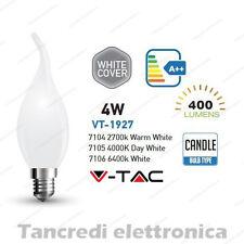 Lampadina led V-TAC 4W E14 VT-1927 a fiamma cover bianca filamento lampada opaca