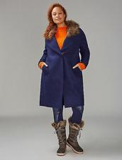 LANE BRYANT sz 22/24 Single Button Coat w/ Faux Fur Collar Women's Plus Long 3x