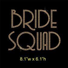 Bride Squad Rhinestone Transfer Hotfix Iron-on Applique Motif Choice of Colours