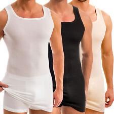 HERMKO 16027 Herren extralanges Unterhemd aus Baumwolle / Modal breitere Träger