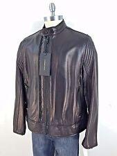 Men's Andrew Marc BLACK Men's  'Windsor' Lambskin Leather Racer size M L XL, XXL