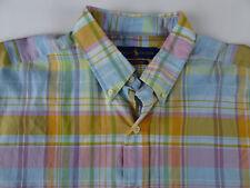 Polo Ralph Lauren Short Sleeve Beach Twill Cotton Plaid Shirt Button Up NWT $89