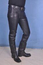 Men's Cowhide Leather Carpenter Pants Bikers Trousers Jeans Breeches BLUF Leders