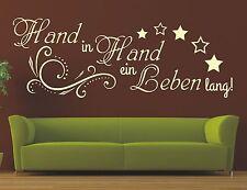 X207 Wandtattoo Spruch / Hand in Hand ein Leben lang Wandsticker Aufkleber
