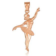 Ballet Dancer Solid Rose Gold Charm Pendant